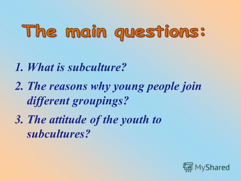 1. What is subculture? 2. The reasons why young people join different groupings? 3. The attitude of the youth to subcultures?