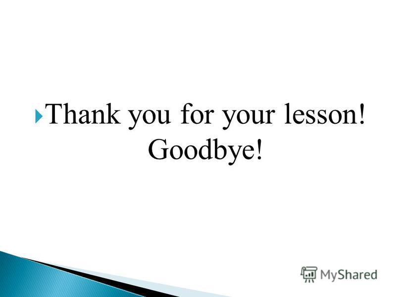 Thank you for your lesson! Goodbye!