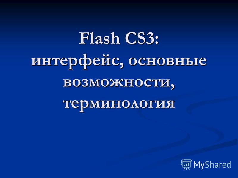 Flash CS3: интерфейс, основные возможности, терминология