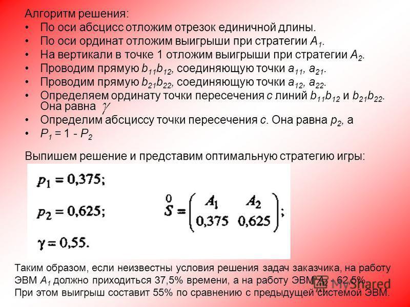 Алгоритм решения: По оси абсцисс отложим отрезок единичной длины. По оси ординат отложим выигрыши при стратегии А 1. На вертикали в точке 1 отложим выигрыши при стратегии А 2. Проводим прямую b 11 b 12, соединяющую точки а 11, а 21. Проводим прямую b