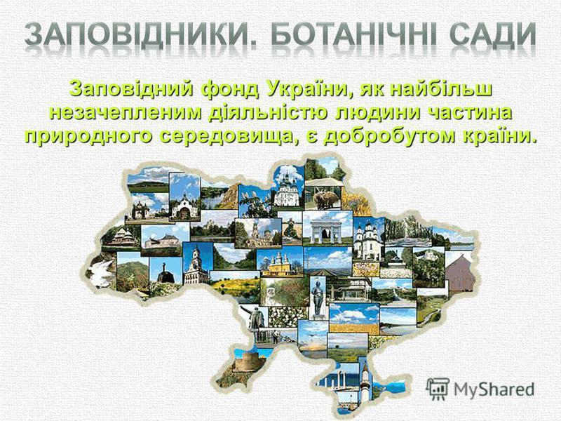 Заповідний фонд України, як найбільш незачепленим діяльністю людини частина природного середовища, є добробутом країни.