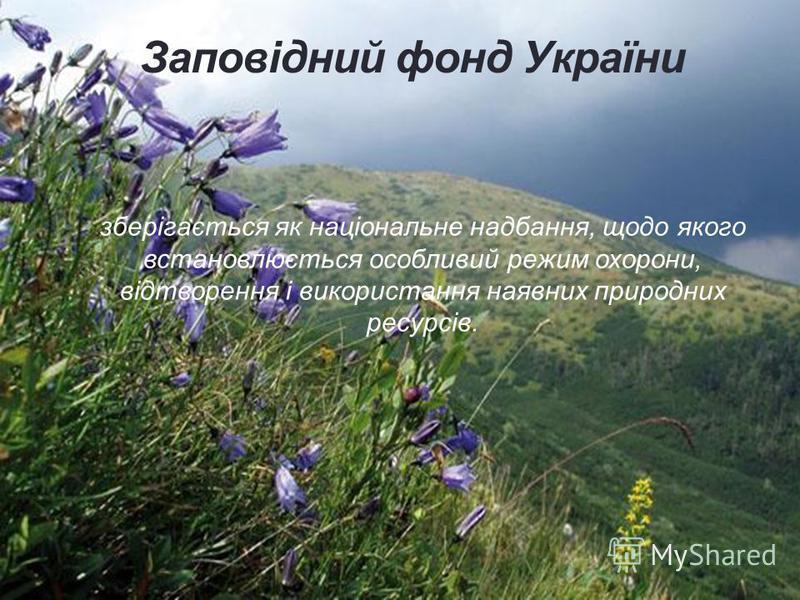 Заповідний фонд України зберігається як національне надбання, щодо якого встановлюється особливий режим охорони, відтворення і використання наявних природних ресурсів.