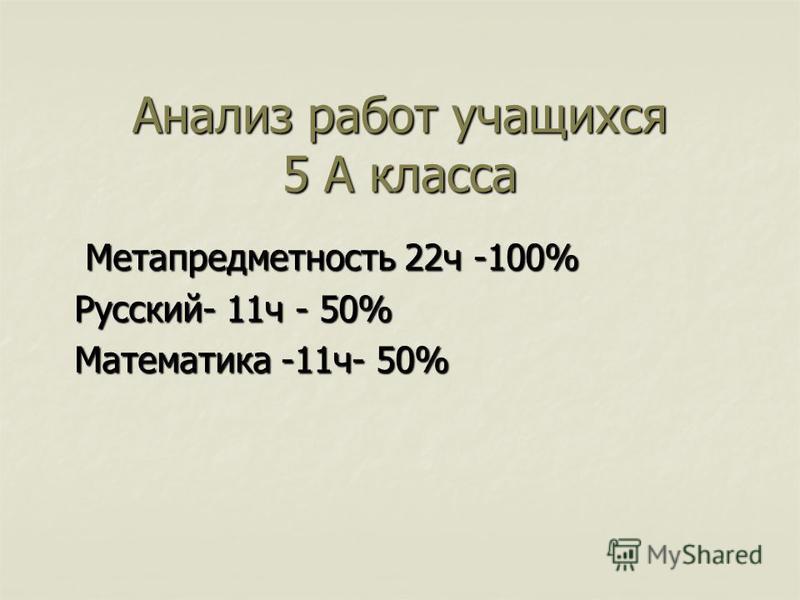 Анализ работ учащихся 5 А класса Метапредметность 22 ч -100% Метапредметность 22 ч -100% Русский- 11 ч - 50% Математика -11 ч- 50%