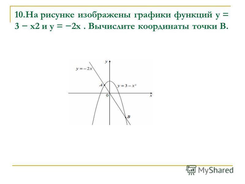 10. На рисунке изображены графики функций y = 3 x2 и y = 2x. Вычислите координаты точки B.