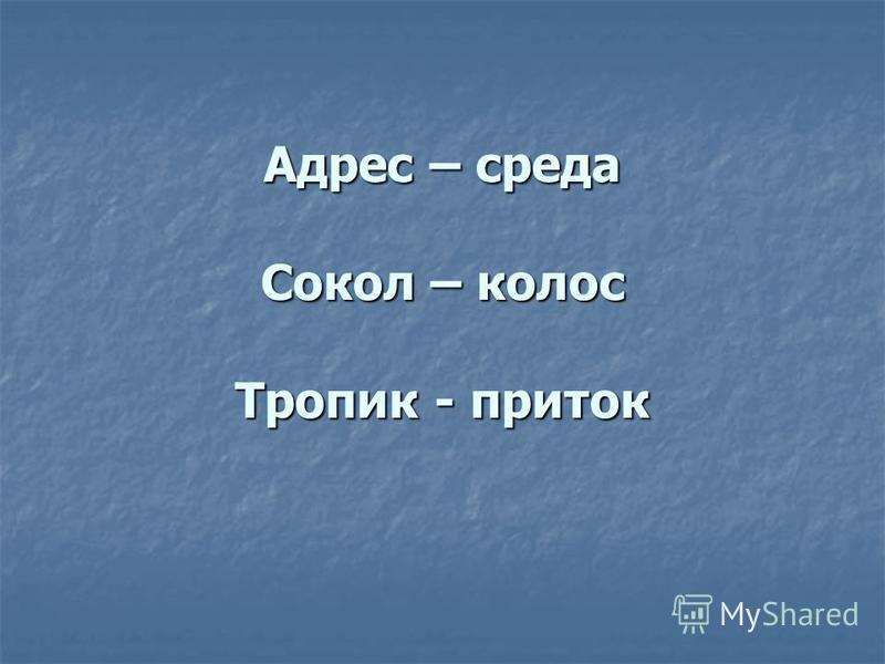 Адрес – среда Сокол – колос Тропик - приток