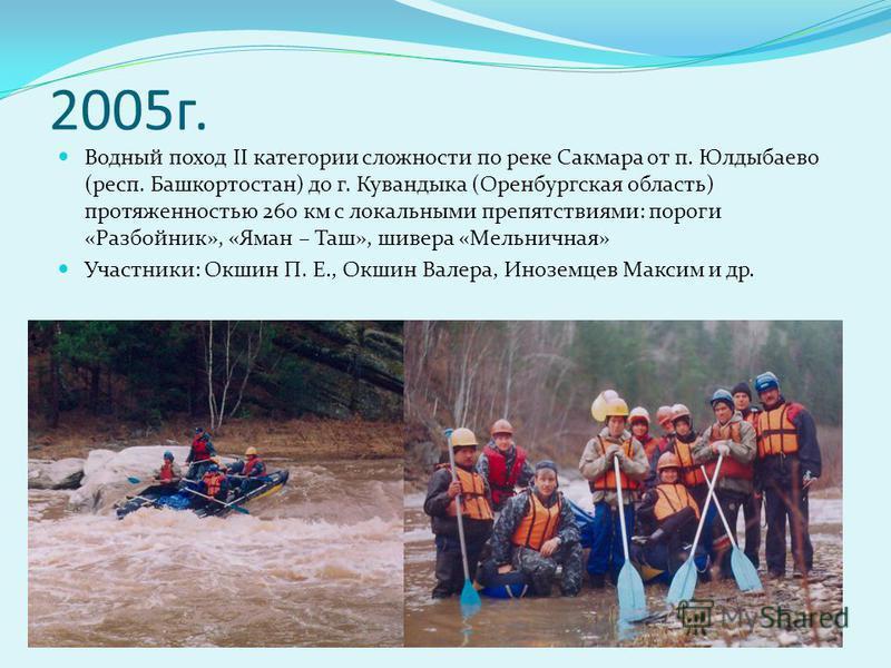 2005 г. Водный поход II категории сложности по реке Сакмара от п. Юлдыбаево (респ. Башкортостан) до г. Кувандыка (Оренбургская область) протяженностью 260 км с локальными препятствиями: пороги «Разбойник», «Яман – Таш», шивера «Мельничная» Участники: