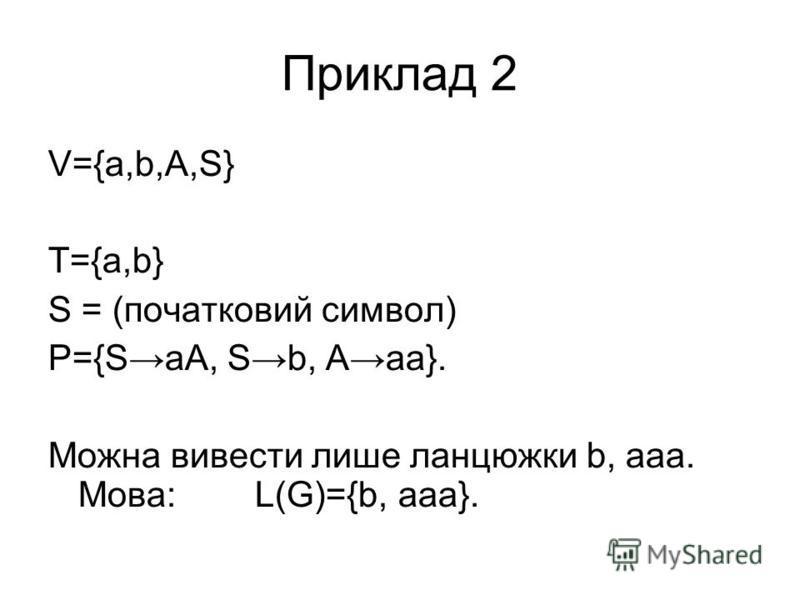 Приклад 2 V={a,b,A,S} T={a,b} S = (початковий символ) P={SaA, Sb, Aaa}. Можна вивести лише ланцюжки b, aaa. Мова: L(G)={b, aaa}.