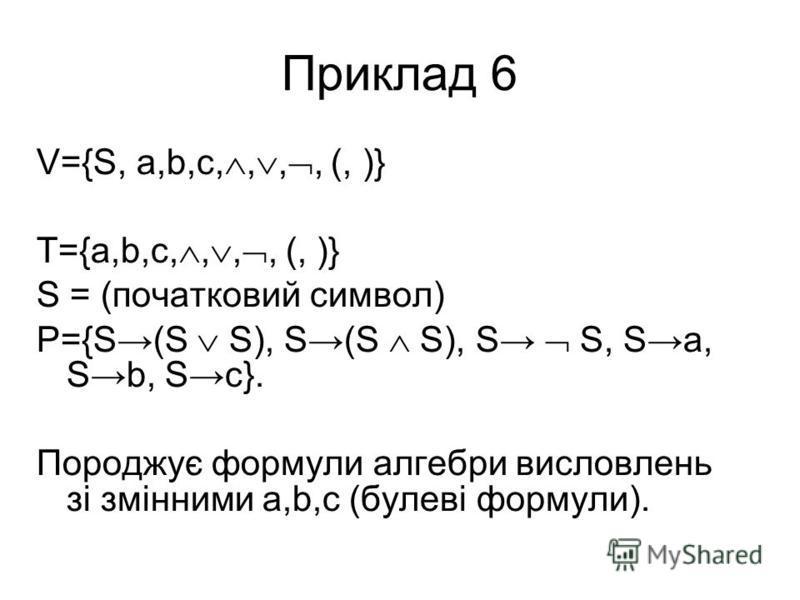 Приклад 6 V={S, a,b,c,,,, (, )} T={a,b,c,,,, (, )} S = (початковий символ) P={S(S S), S(S S), S S, Sa, Sb, Sc}. Породжує формули алгебри висловлень зі змінними a,b,c (булеві формули).