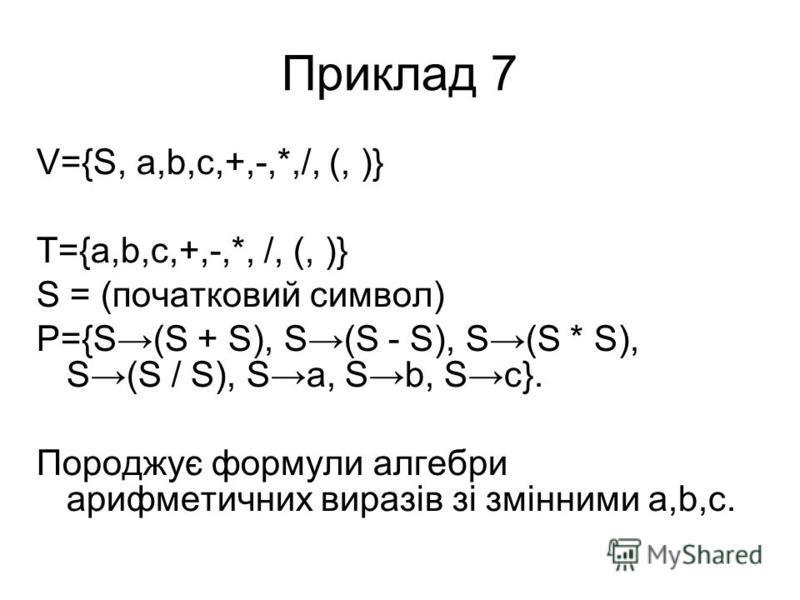 Приклад 7 V={S, a,b,c,+,-,*,/, (, )} T={a,b,c,+,-,*, /, (, )} S = (початковий символ) P={S(S + S), S(S - S), S(S * S), S(S / S), Sa, Sb, Sc}. Породжує формули алгебри арифметичних виразів зі змінними a,b,c.