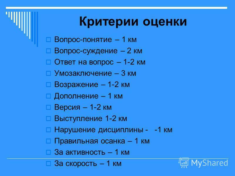 Критерии оценки Вопрос-понятие – 1 км Вопрос-суждение – 2 км Ответ на вопрос – 1-2 км Умозаключение – 3 км Возражение – 1-2 км Дополнение – 1 км Версия – 1-2 км Выступление 1-2 км Нарушение дисциплины - -1 км Правильная осанка – 1 км За активность –