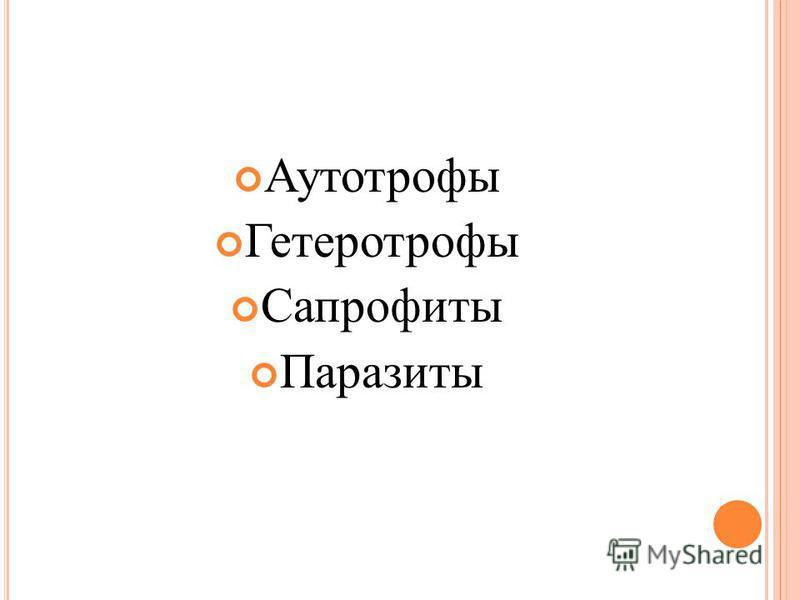 Аутотрофы Гетеротрофы Сапрофиты Паразиты