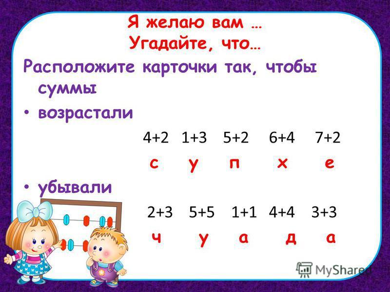 Я желаю вам … Угадайте, что… Расположите карточки так, чтобы суммы возрастали 4+2 1+3 5+2 6+4 7+2 с у п х е убывали 2+3 5+5 1+1 4+4 3+3 ч у а д а