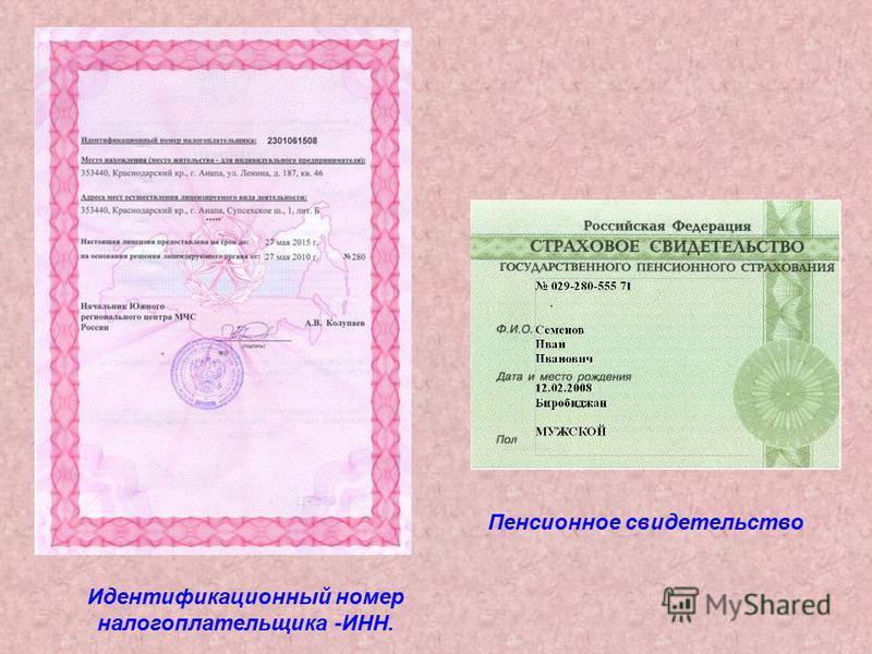 Идентификационный номер налогоплательщика -ИНН. Пенсионное свидетельство