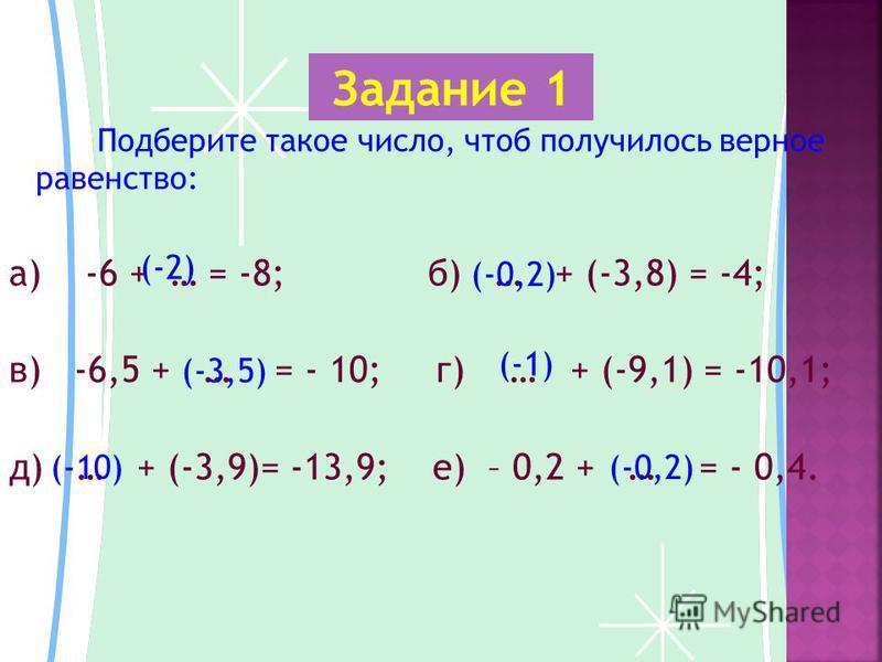 Подберите такое число, чтоб получилось верное равенство: а) -6 + … = -8; б) … + (-3,8) = -4; в) -6,5 + … = - 10; г) … + (-9,1) = -10,1; д) … + (-3,9)= -13,9; е) – 0,2 + … = - 0,4. Задание 1 (-2) (-0,2) (-3,5) (-1) (-10)(-0,2)