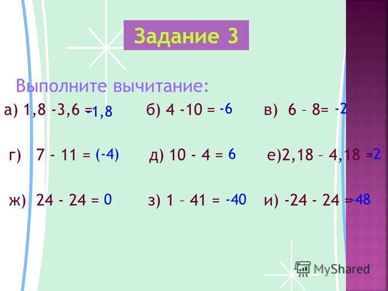 Выполните вычитание: а) 1,8 -3,6 = б) 4 -10 = в) 6 – 8= г) 7 - 11 = д) 10 - 4 = е)2,18 – 4,18 = ж) 24 - 24 = з) 1 – 41 = и) -24 - 24 = Задание 3 -1,8 -6-2 (-4)6-2 0-40-48