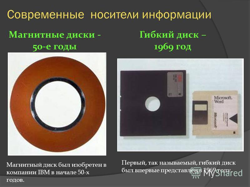 Современные носители информации Магнитная лента - 50-е годы 20 века 1952 году магнитная лента была использована для хранения, записи и считывания информации в компьютере IBM System 701. Далее магнитная лента получила огромное признание и распространё