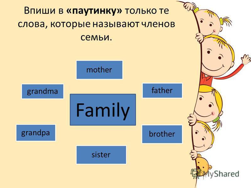Впиши в «паутинку» только те слова, которые называют членов семьи. grandma mother father grandpa sister brother Family