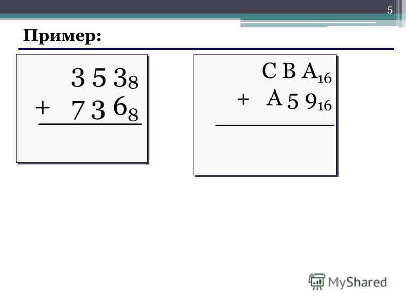Пример: 3 5 3 8 + 7 3 6 8 3 5 3 8 + 7 3 6 8 С В А 16 + A 5 9 16 С В А 16 + A 5 9 16 5