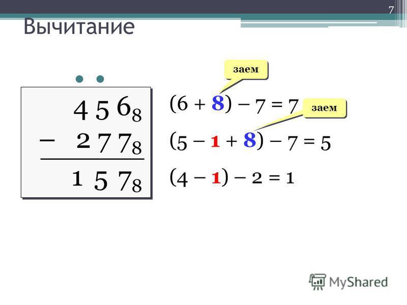Вычитание 4 5 6 8 – 2 7 7 8 4 5 6 8 – 2 7 7 8 (6 + 8) – 7 = 7 (5 – 1 + 8) – 7 = 5 (4 – 1) – 2 = 1 заем 7878 15 7