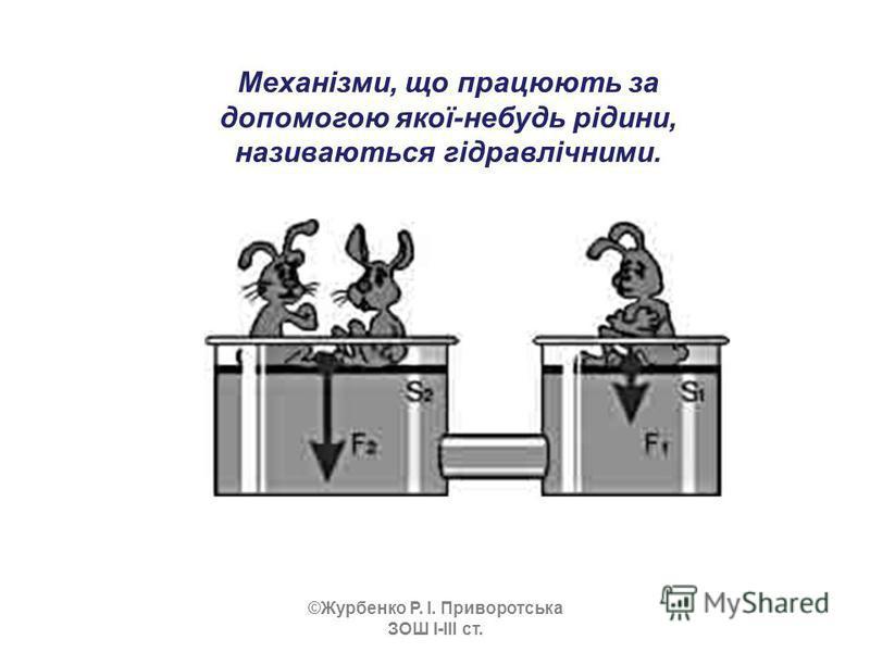 Механізми, що працюють за допомогою якої-небудь рідини, називаються гідравлічними. ©Журбенко Р. І. Приворотська ЗОШ І-ІІІ ст.