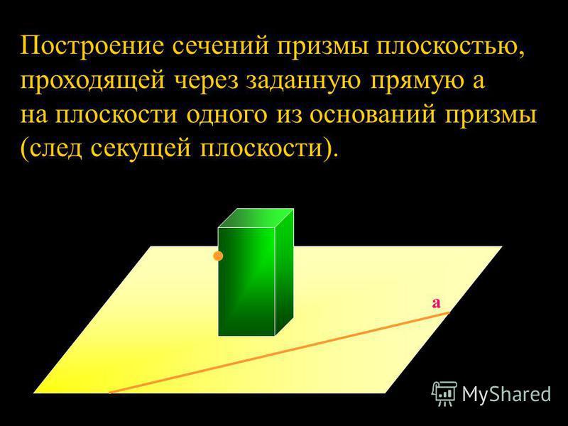 Построение сечений призмы плоскостью, проходящей через заданную прямую a на плоскости одного из оснований призмы (след секущей плоскости). a