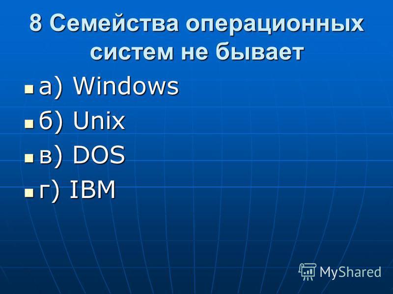 8 Семейства операционных систем не бывает а) Windows а) Windows б) Unix б) Unix в) DOS в) DOS г) IBM г) IBM