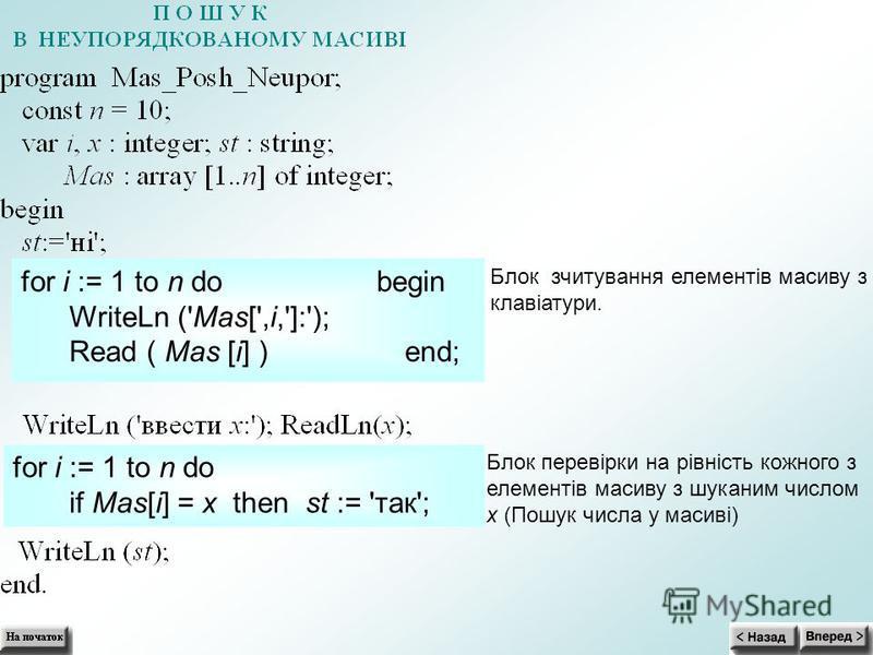 for i := 1 to n do begin WriteLn ('Mas[',i,']:'); Read ( Mas [i] ) end; for i := 1 to n do if Mas[i] = x then st := 'так'; Блок зчитування елементів масиву з клавіатури. Блок перевірки на рівність кожного з елементів масиву з шуканим числом x (Пошук