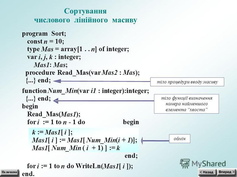 Сортування числового лінійного масиву program Sort; const n = 10; type Mas = array[1.. n ] of integer; var i, j, k : integer; Mas1 : Mas ; procedure Read_Mas(var Mas2 : Mas ); {...} end; function Num_Min (var i1 : integer):integer; {...} end; begin R
