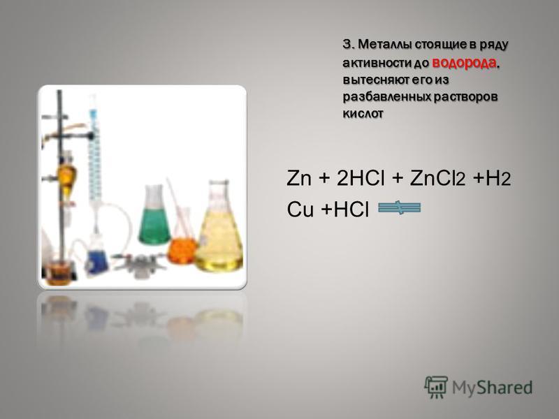 3. Металлы стоящие в ряду активности до водорода, вытесняют его из разбавленных растворов кислот Zn + 2HCl + ZnCl 2 +H 2 Cu +HCl