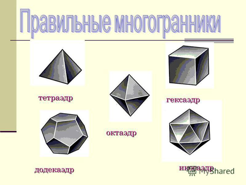 Многогранник Многогранник называется правильным, правильным, если если все его его грани грани – равные правильные многоугольники многоугольники ив каждой каждой вершине сходятся сходятся одинаковое число число рёбер.