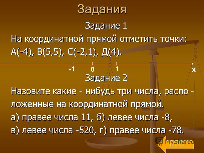 Задания Задание 1 На координатной прямой отметить точки: А(-4), В(5,5), С(-2,1), Д(4). Задание 2 Назовите какие - нибудь три числа, расположенные на координатной прямой. а) правее числа 11, б) левее числа -8, в) левее числа -520, г) правее числа -78.