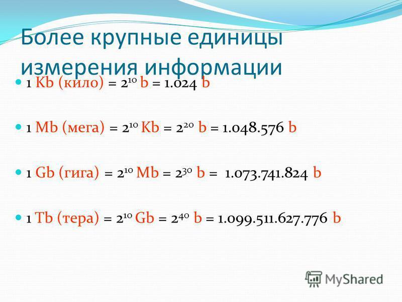 1 символ = 1 байт Количество байтов для представления текста (в принятых на сегодняшний день кодировках) равно числу знаков естественного языка этого текста. (c) Попова О.В., AME, Красноярск, 20059