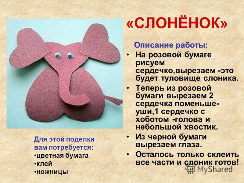«СЛОНЁНОК» Описание работы: На розовой бумаге рисуем сердечко,вырезаем -это будет туловище слоника. Теперь из розовой бумаги вырезаем 2 сердечка поменьше- уши,1 сердечко с хоботом -голова и небольшой хвостик. Из черной бумаги вырезаем глаза. Осталось