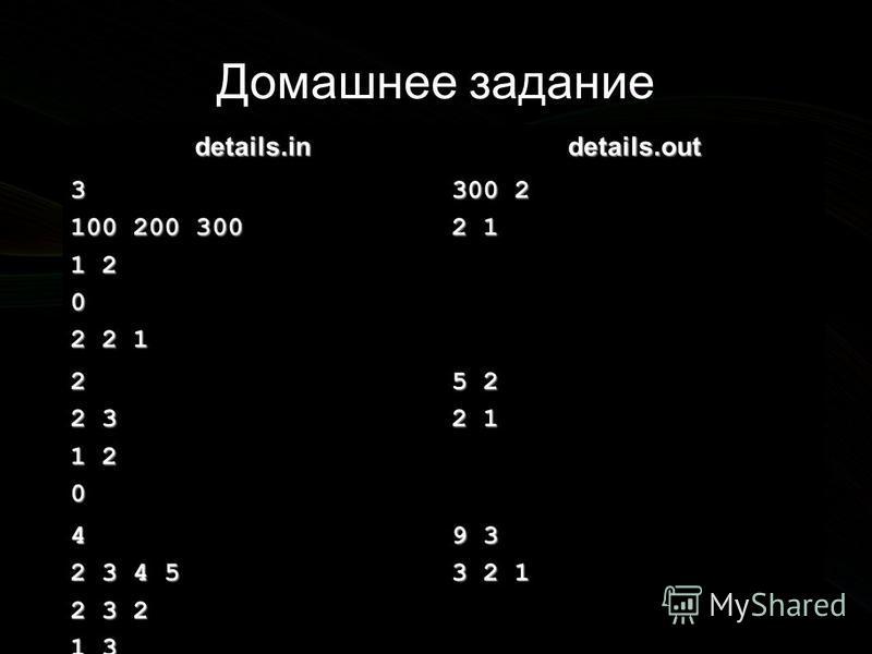 Домашнее задание details.indetails.out 3 100 200 300 1 2 0 2 2 1 300 2 2 1 2 2 3 1 2 0 5 2 2 1 4 2 3 4 5 2 3 2 1 3 0 2 1 3 9 3 3 2 1