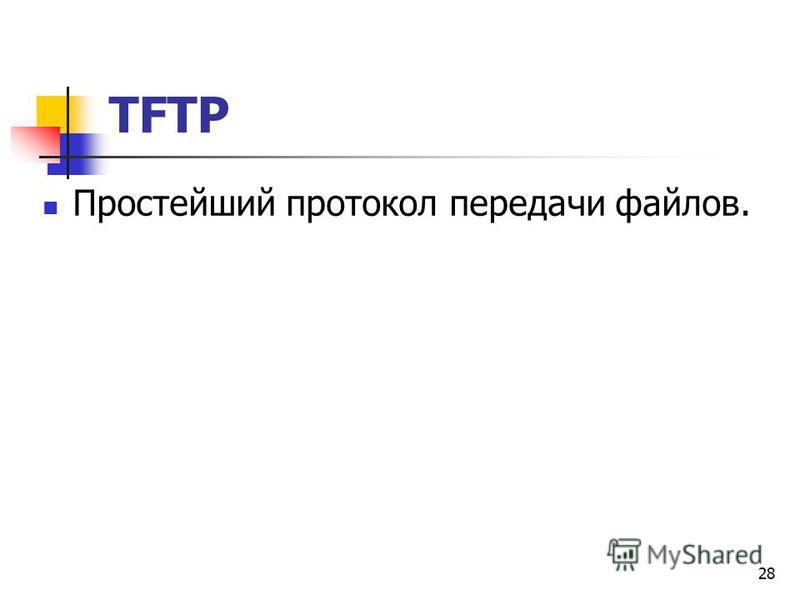 28 TFTP Простейший протокол передачи файлов.