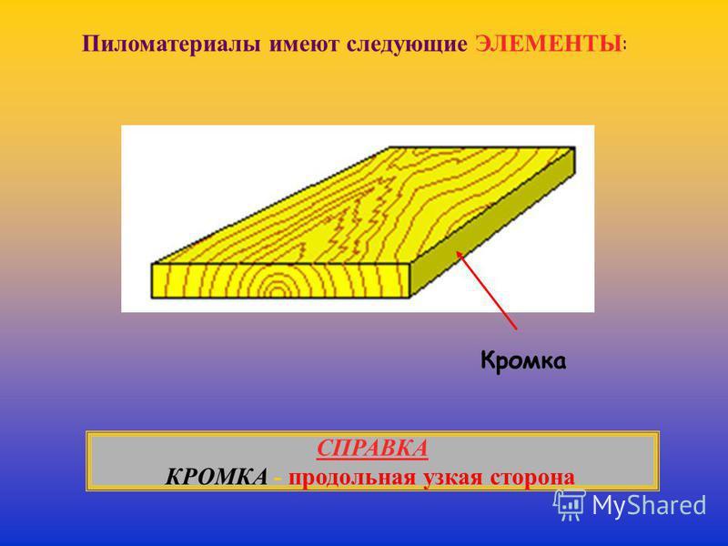 Пиломатериалы имеют следующие ЭЛЕМЕНТЫ : Кромка СПРАВКА КРОМКА - продольная узкая сторона.