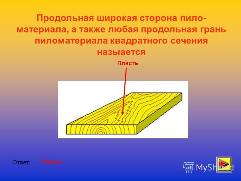 Продольная широкая сторона пило- материала, а также любая продольная грань пиломатериала квадратного сечения назыается Ответ: Пласть