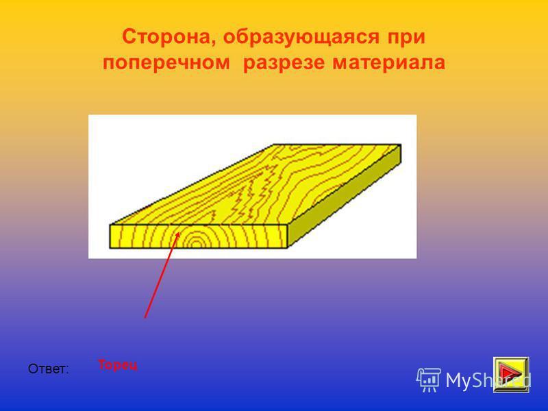 Сторона, образующаяся при поперечном разрезе материала Ответ: Торец