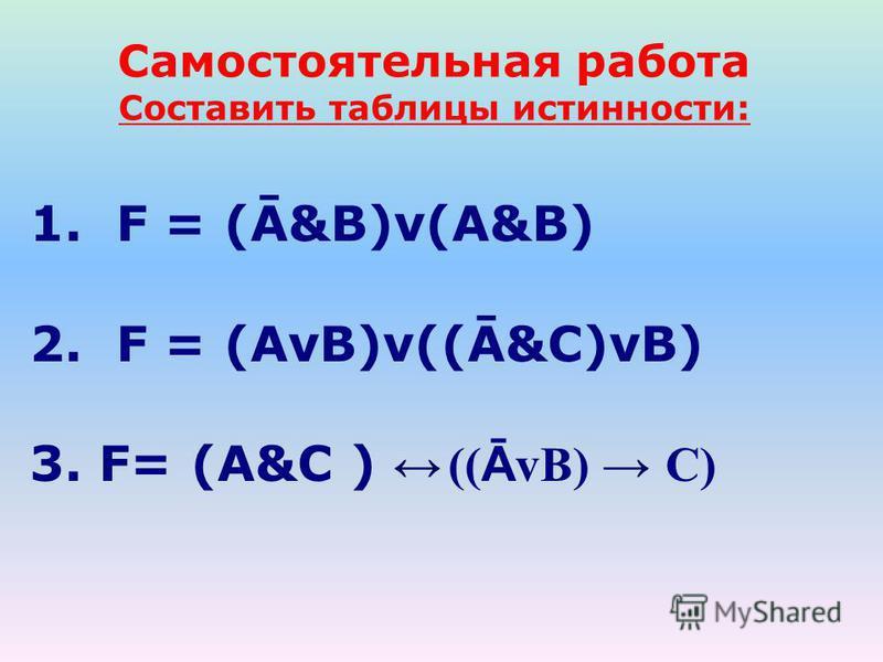 Самостоятельная работа Составить таблицы истинности: 1. F = (Ā&B)v(A&B) 2. F = (AvB)v((Ā&C)vB) 3. F= (A&C ) (( Ā vB) C)