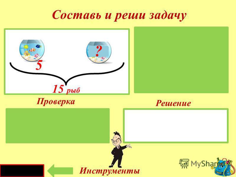 Проверка Решение 17 - 10 = 7 (л) I -I - II – ?л Составь и реши задачу Инструменты 17 литров 17 л 10 л I канистраII канистра 10 ?