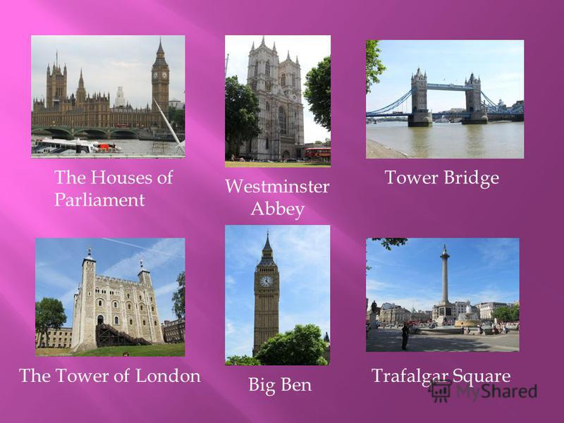 The Houses of Parliament Westminster Abbey Tower Bridge The Tower of London Big Ben Trafalgar Square