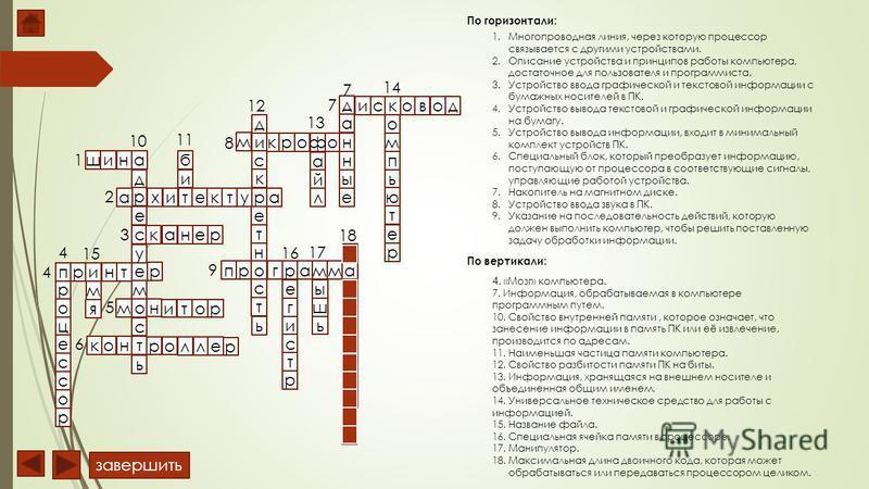 По горизонтали: По вертикали: 1. Многопроводная линия, через которую процессор связывается с другими устройствами. 2. Описание устройства и принципов работы компьютера, достаточное для пользователя и программиста. 3. Устройство ввода графической и те