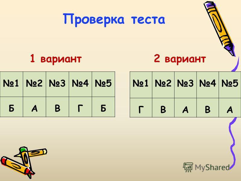 1 вариант 12345 БАВГБ 12345 ГВАВА 2 вариант Проверка теста
