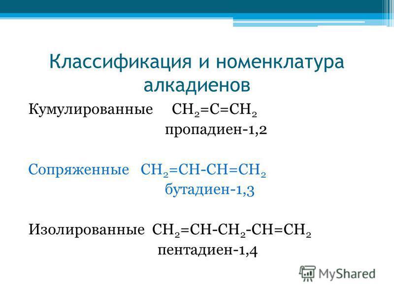 Классификация и номенклатура алкадиенов Кумулированные СН 2 =С=СН 2 пропадиен-1,2 Сопряженные СН 2 =СН-СН=СН 2 бутадиен-1,3 Изолированные СН 2 =СН-СН 2 -СН=СН 2 пентадиен-1,4