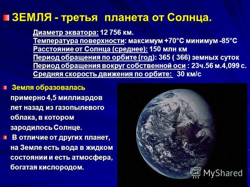 ЗЕМЛЯ - третья планета от Солнца. Земля образовалась примерно 4,5 миллиардов лет назад из газопылевого облака, в котором зародилось Солнце. В отличие от других планет, на Земле есть вода в жидком состоянии и есть атмосфера, богатая кислородом. Диамет