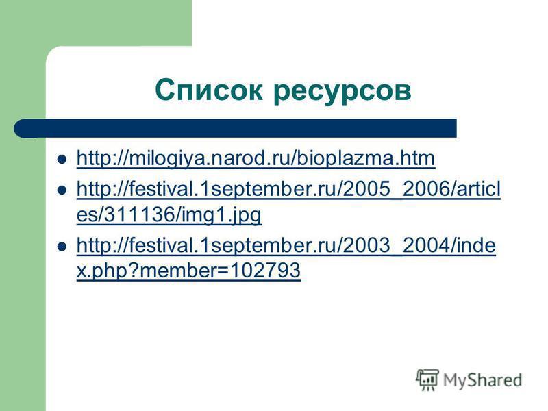 Список ресурсов http://milogiya.narod.ru/bioplazma.htm http://festival.1september.ru/2005_2006/articl es/311136/img1. jpg http://festival.1september.ru/2005_2006/articl es/311136/img1. jpg http://festival.1september.ru/2003_2004/inde x.php?member=102