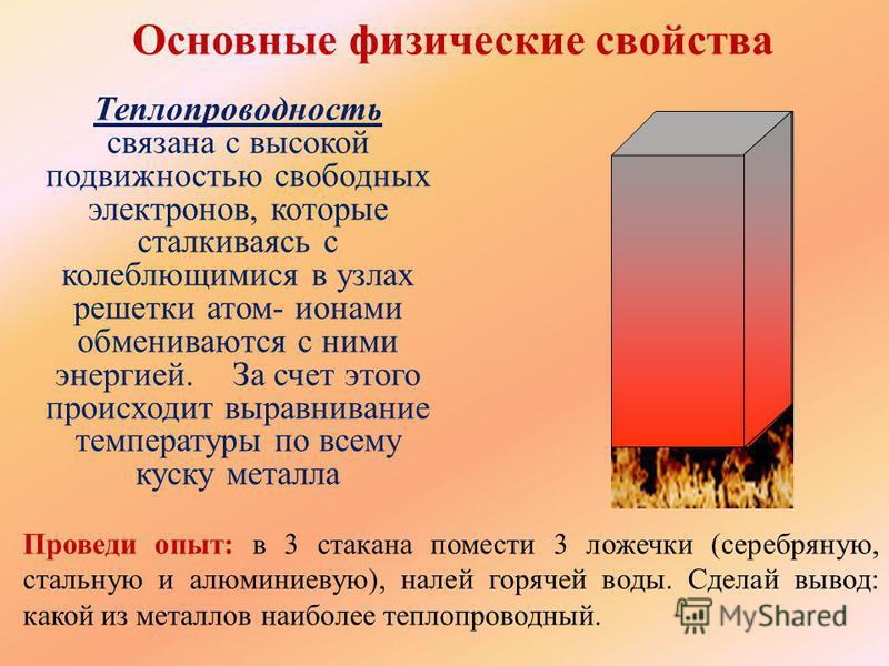 Основные физические свойства Электропроводность связана с направленным движением элек- тронов при помещении металла в электрическое поле + е е