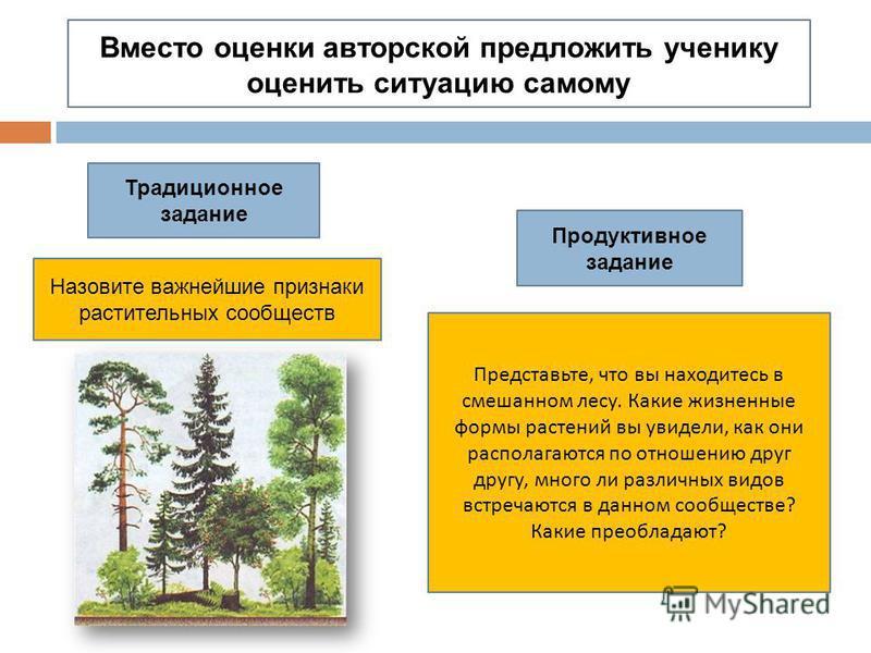 Вместо оценки авторской предложить ученику оценить ситуацию самому Традиционное задание Продуктивное задание Назовите важнейшие признаки растительных сообществ Представьте, что вы находитесь в смешанном лесу. Какие жизненные формы растений вы увидели