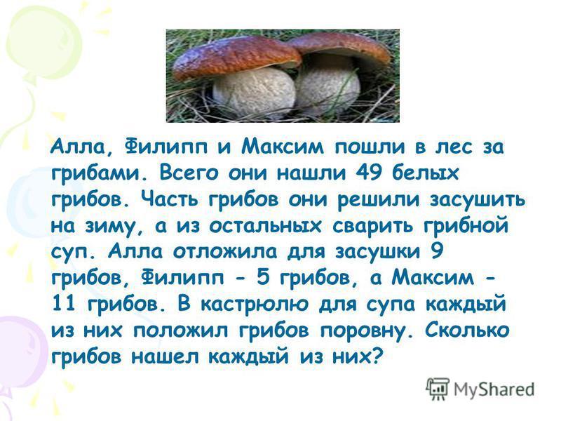 Алла, Филипп и Максим пошли в лес за грибами. Всего они нашли 49 белых грибов. Часть грибов они решили засушить на зиму, а из остальных сварить грибной суп. Алла отложила для засушки 9 грибов, Филипп - 5 грибов, а Максим - 11 грибов. В кастрюлю для с