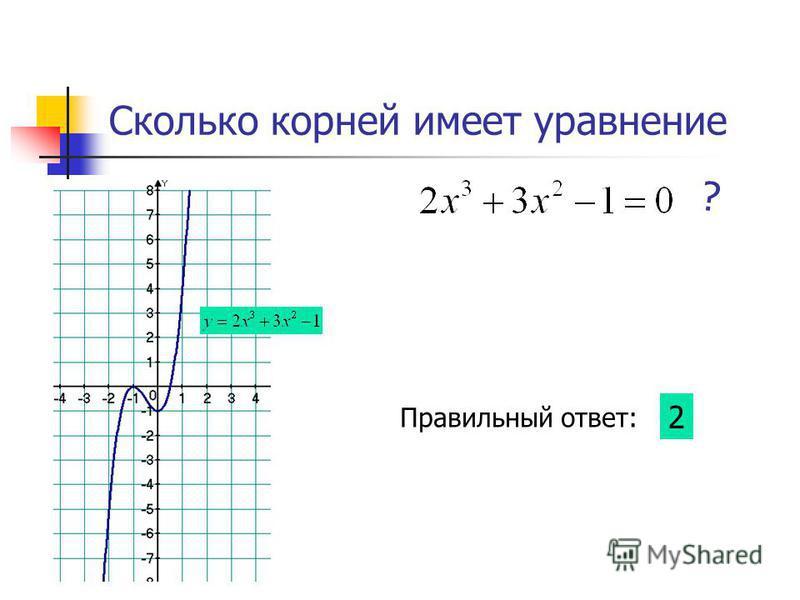 Сколько корней имеет уравнение ? Правильный ответ: 2